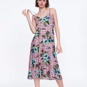 Zara Plaid Pink Floral Print Silk  Flowy Dress